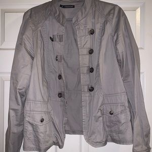 Maurice's plus size military blazer jacket gray 1x